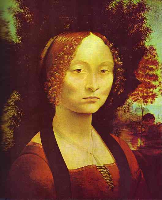 'Portrait of Ginevra de'Benci', Oil by Leonardo Da Vinci (1452-1519, Italy)