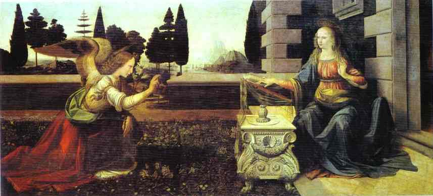 The Annunciation, 1472 by Leonardo Da Vinci (1452-1519, Italy) | Painting Copy | WahooArt.com