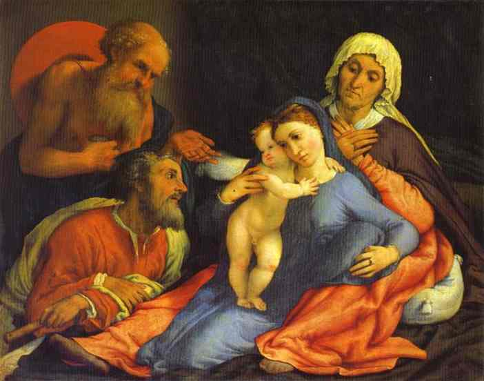 'Madonna and Child with St. Jerome, St. Joseph and St. Anne', Oil by Lorenzo Lotto (1480-1557, Italy)
