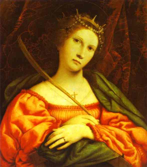 'St. Catherine', Oil by Lorenzo Lotto (1480-1557, Italy)
