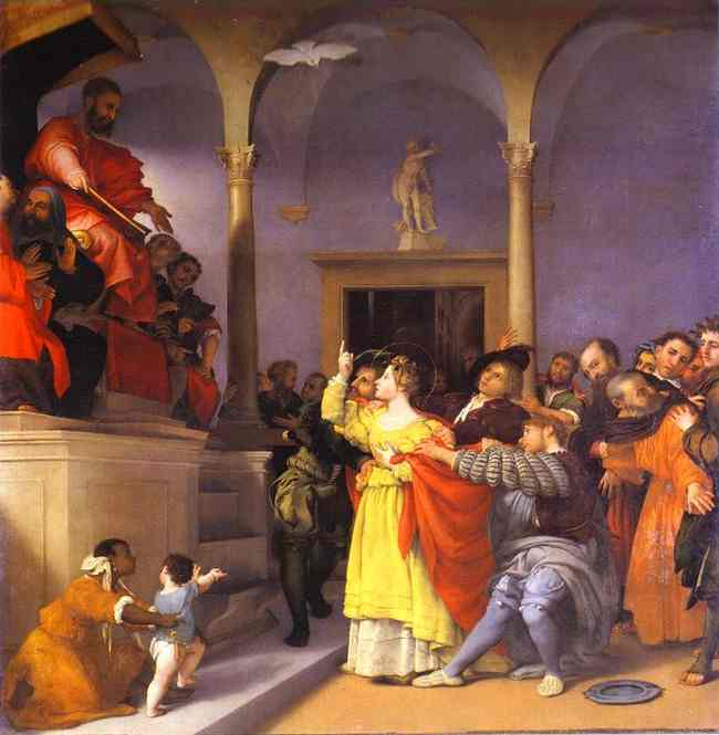 St. Lucia before the Judge by Lorenzo Lotto (1480-1557, Italy) | Famous Paintings Reproductions | WahooArt.com