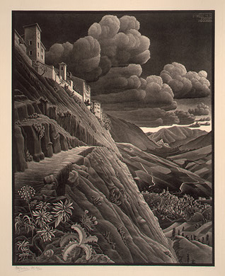 'Castrovalva', Lithography by Maurits Cornelis Escher (1898-1972, Netherlands)