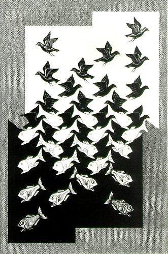 'Sky and Water II', Lithography by Maurits Cornelis Escher (1898-1972, Netherlands)