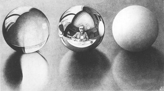 'Three Spheres II', Lithography by Maurits Cornelis Escher (1898-1972, Netherlands)