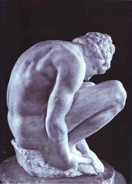 'Crouching Boy', Sculpture by Michelangelo Buonarroti (1475-1564, Italy)
