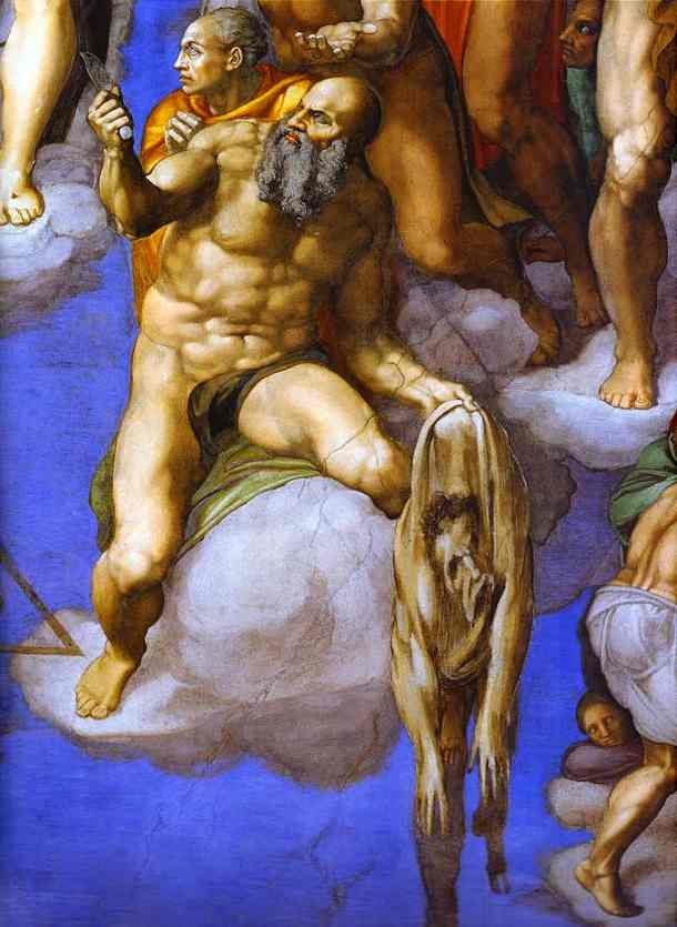 'The Last Judgment (detail)', Oil by Michelangelo Buonarroti (1475-1564, Italy)