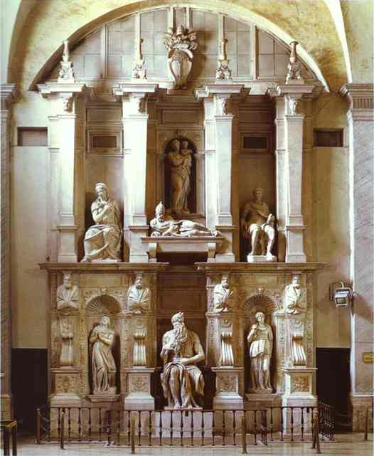 'The Tomb of the Pope Julius II', Oil by Michelangelo Buonarroti (1475-1564, Italy)