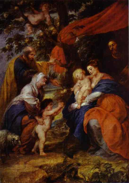 'The St. Ildefonso Altar (outer wings). The Holy Family under the Apple-Tree', Oil by Peter Paul Rubens (1577-1640, Germany)