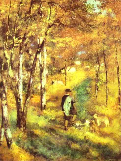 'Young Man Walking with Dogs in Fontainebleau Forest', Oil by Pierre-Auguste Renoir (1841-1919, France)