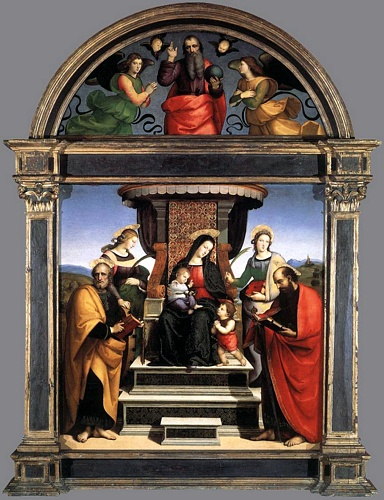 'Madonna and Child Enthroned with Saints', Oil by Raphael - Raffaello Sanzio (1483-1520, Italy)
