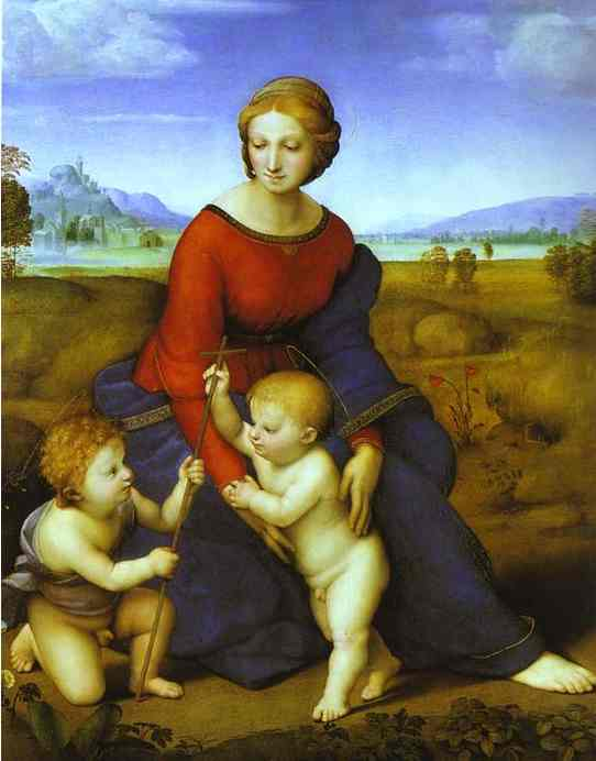 'Madonna of the Meadow', Oil by Raphael - Raffaello Sanzio (1483-1520, Italy)