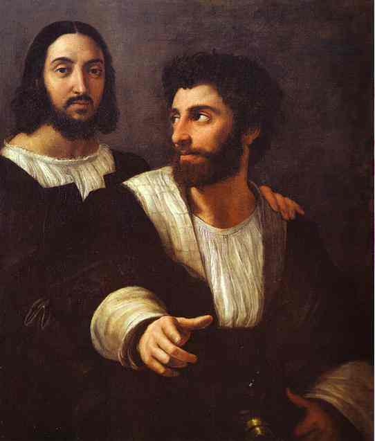 'Self-Portrait with a Friend', Oil by Raphael - Raffaello Sanzio (1483-1520, Italy)
