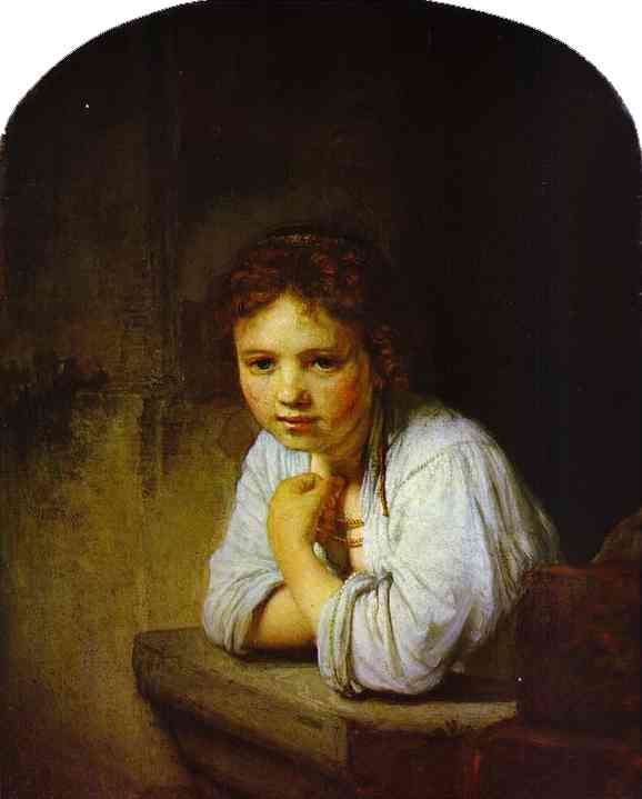 'A Young Girl Leaning on a Window-Sill', Oil by Rembrandt Van Rijn (1606-1669, Netherlands)