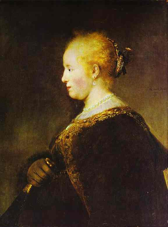 'Portrait of a Young Woman with the Fan', Oil by Rembrandt Van Rijn (1606-1669, Netherlands)