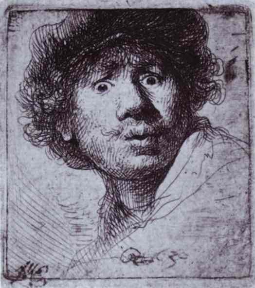 'Self-Portrait with Wide-Open Eyes', Oil by Rembrandt Van Rijn (1606-1669, Netherlands)