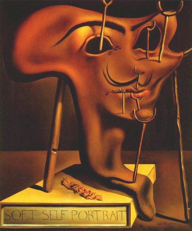 'Soft Self-portrait with Grilled Bacon, 1941', Oil by Salvador Dali (1904-1989, Spain)