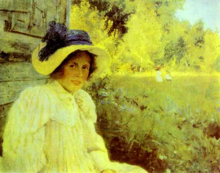 'Summertime. Portrait of Olga Serova', Oil by Valentin Serov (1865-1911, Russia)