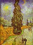 Vincent Van Gogh - Road with Man Walking, Carrige, Cypress, Star and Crescend Moon