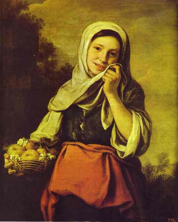 A Girl with Fruits by Bartolome Esteban Murillo (1617-1682, Spain) | Art Reproduction | WahooArt.com