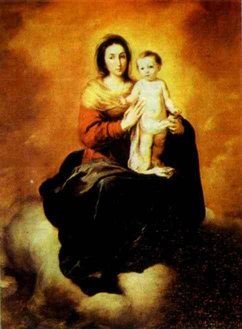 'Madonna in the Clouds', Oil by Bartolome Esteban Murillo (1617-1682, Spain)