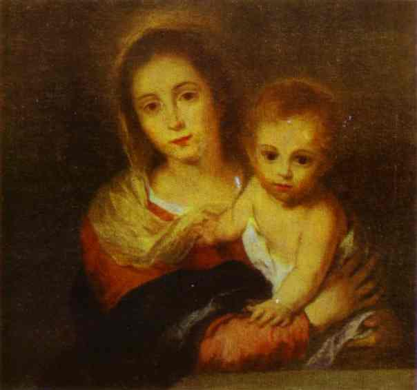 'Madonna with a Napkin', Oil by Bartolome Esteban Murillo (1617-1682, Spain)