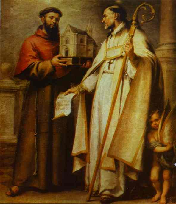 'St. Leander and St. Bonaventura', Oil by Bartolome Esteban Murillo (1617-1682, Spain)