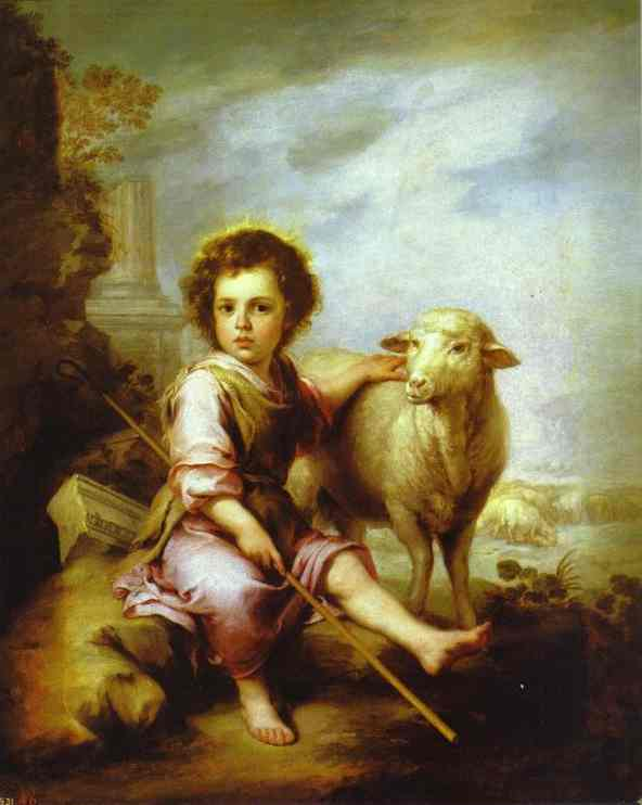 'The Good Shepherd', Oil by Bartolome Esteban Murillo (1617-1682, Spain)