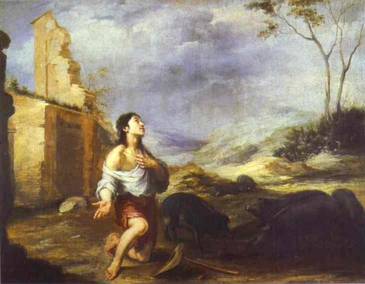 'The Prodigal Son Feeding Swine', Oil by Bartolome Esteban Murillo (1617-1682, Spain)