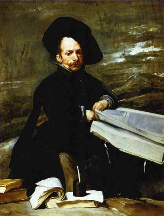 'A Dwarf Holding a Tome on His Lap (Don Diego de Acedo, el Primo)', Oil by Diego Velazquez (1599-1660, Spain)