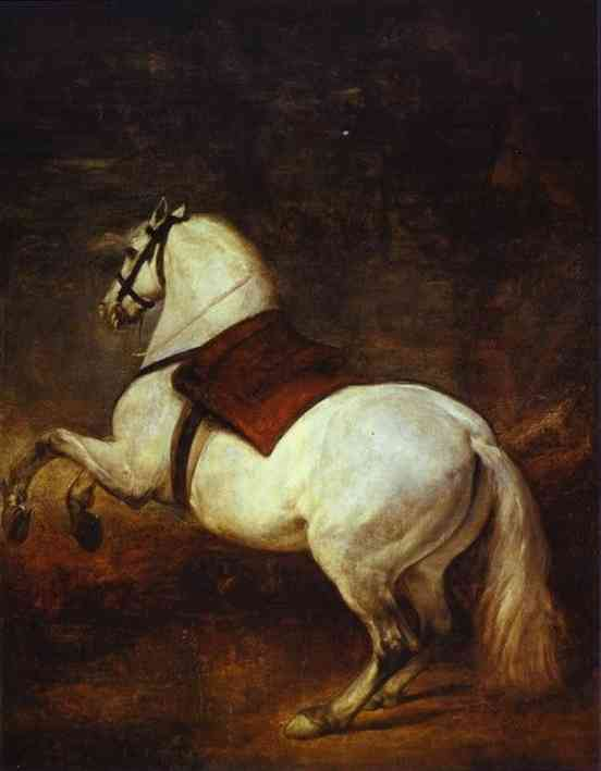 'A White Horse', Oil by Diego Velazquez (1599-1660, Spain)