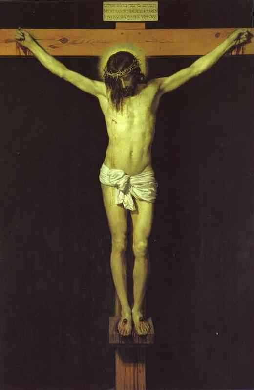 'Christ Crucified', Oil by Diego Velazquez (1599-1660, Spain)