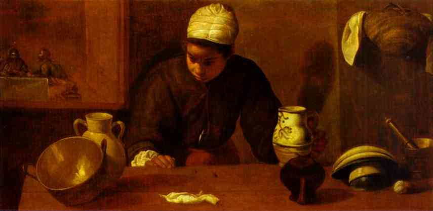 'Kitchen Maid with the Supper at Emmaus', Oil by Diego Velazquez (1599-1660, Spain)