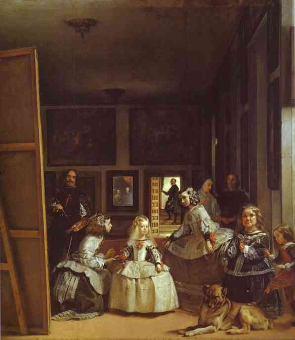 'Las Meninas (The Maids of Honor) or the Royal Family', Oil by Diego Velazquez (1599-1660, Spain)