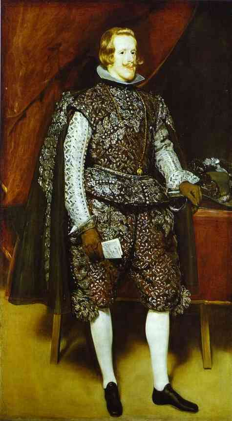 'Philip IV in Brown and Silver', Oil by Diego Velazquez (1599-1660, Spain)