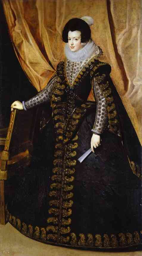'Queen Isabel, Standing', Oil by Diego Velazquez (1599-1660, Spain)