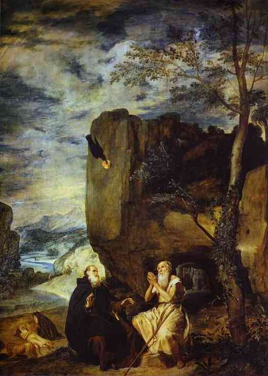 'St. Anthony Abbot and St. Paul the Hermit', Oil by Diego Velazquez (1599-1660, Spain)