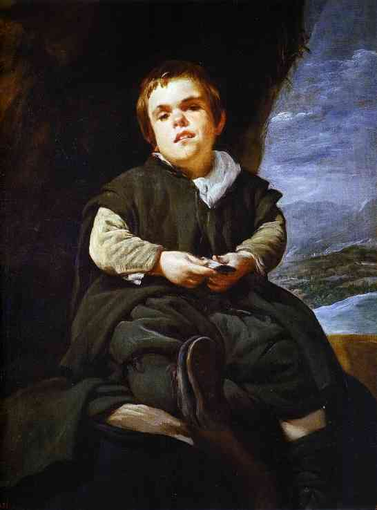 'The Dwarf Francisco Lezcano', Oil by Diego Velazquez (1599-1660, Spain)
