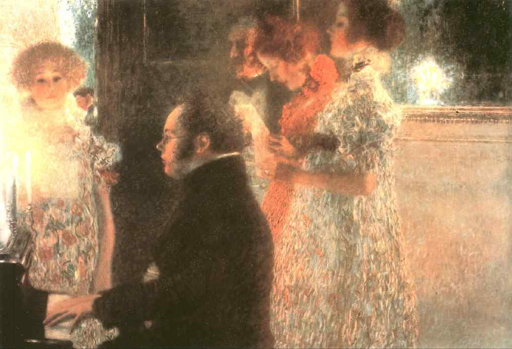 Schubert at the Piano (1899) by Gustav Klimt (1862-1918, Austria) | Oil Painting | WahooArt.com