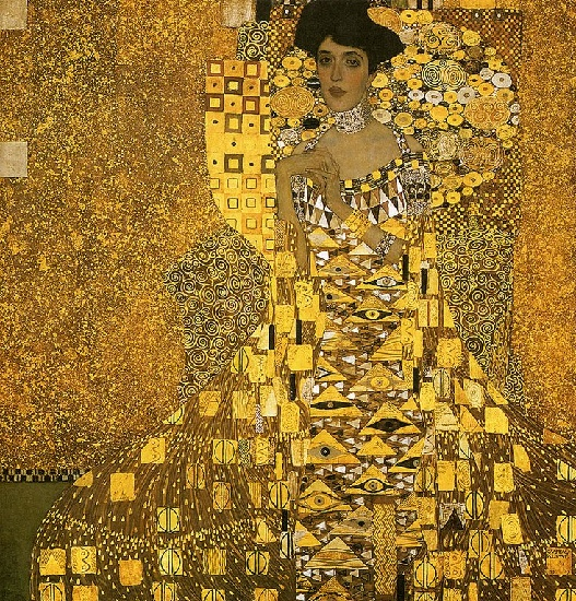 'Portrait of Adele Bloch-Bauer01 (1907)', Oil by Gustav Klimt (1862-1918, Austria)