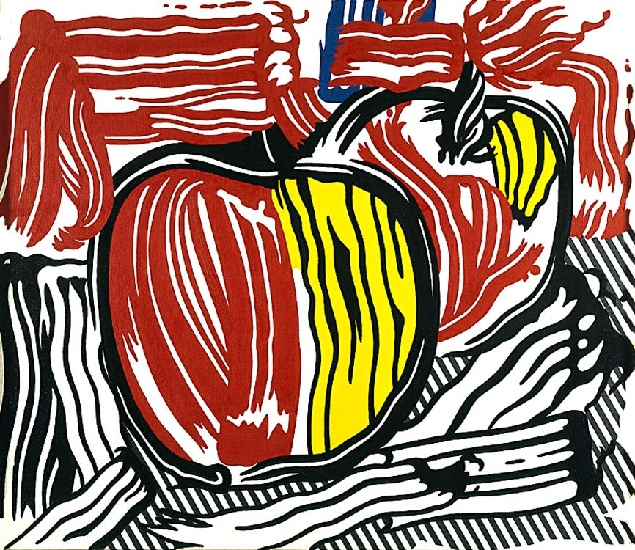 2 red and yellow apples (1981 ) by Roy Lichtenstein (1923-1997, United States) | WahooArt.com