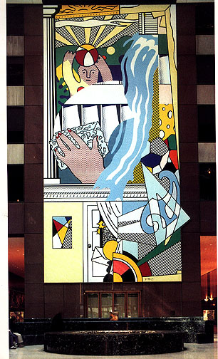 'Mural with blue brushstroke (1986)', Oil by Roy Lichtenstein (1923-1997, United States)
