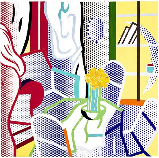 'Collage for Interior with Nude Leaving (1997)', Oil by Roy Lichtenstein (1923-1997, United States)