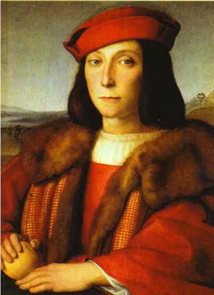 'Portrait of a Man with an Apple', Oil by Raphael - Raffaello Sanzio (1483-1520, Italy)