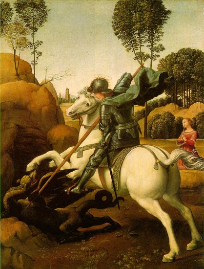 'St. George and the Dragon', Oil by Raphael - Raffaello Sanzio (1483-1520, Italy)