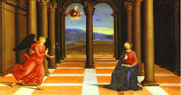 'The Annunciation (from the predella of the Coronation of the Virgin)', Oil by Raphael - Raffaello Sanzio (1483-1520, Italy)