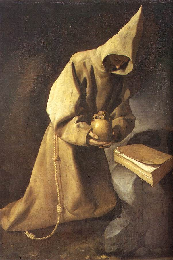 'Meditation of St Francis', Oil by Francisco Zurbaran (1598-1664, Spain)