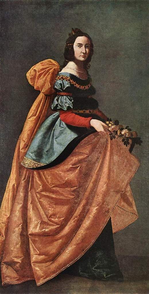 'St. Elizabeth of Portugal', Oil by Francisco Zurbaran (1598-1664, Spain)