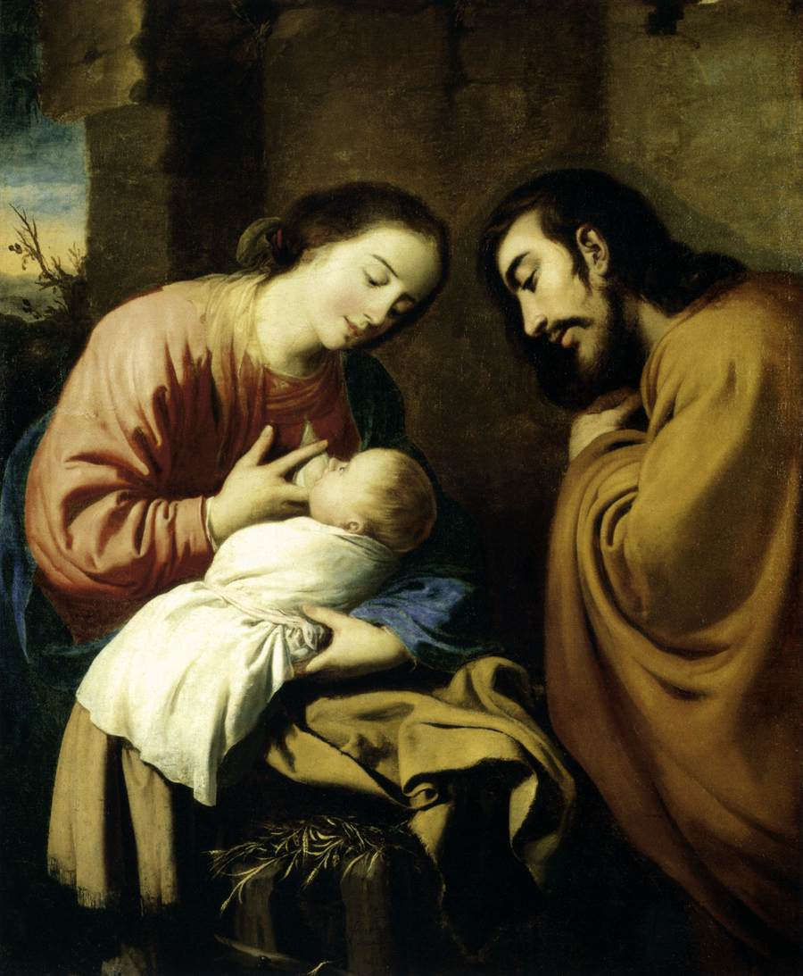 'The Holy Family', Oil by Francisco Zurbaran (1598-1664, Spain)