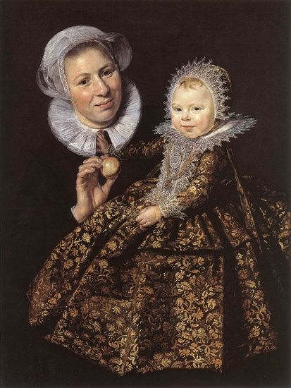 'Catharina Hooft with her Nurse', Oil by Frans Hals (1580-1666, Belgium)