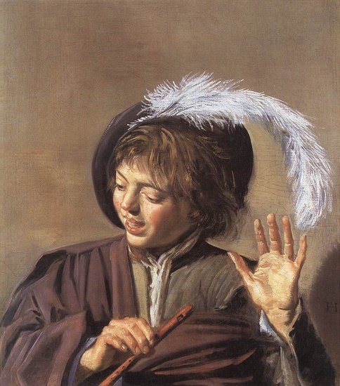 'Singing Boy with a Flute', Oil by Frans Hals (1580-1666, Belgium)